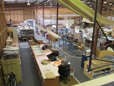 Otago Furniture's Dunedin factory: (foreground) sewing fabric for upholstered occasional chairs. Photo: ©Otago Furniture