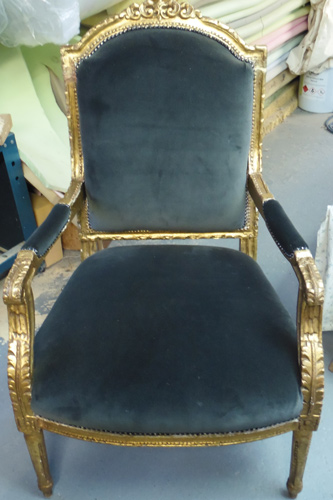 Late 1800s gilt decorative chair: stripped, resprung and reupholstered with stud trim.