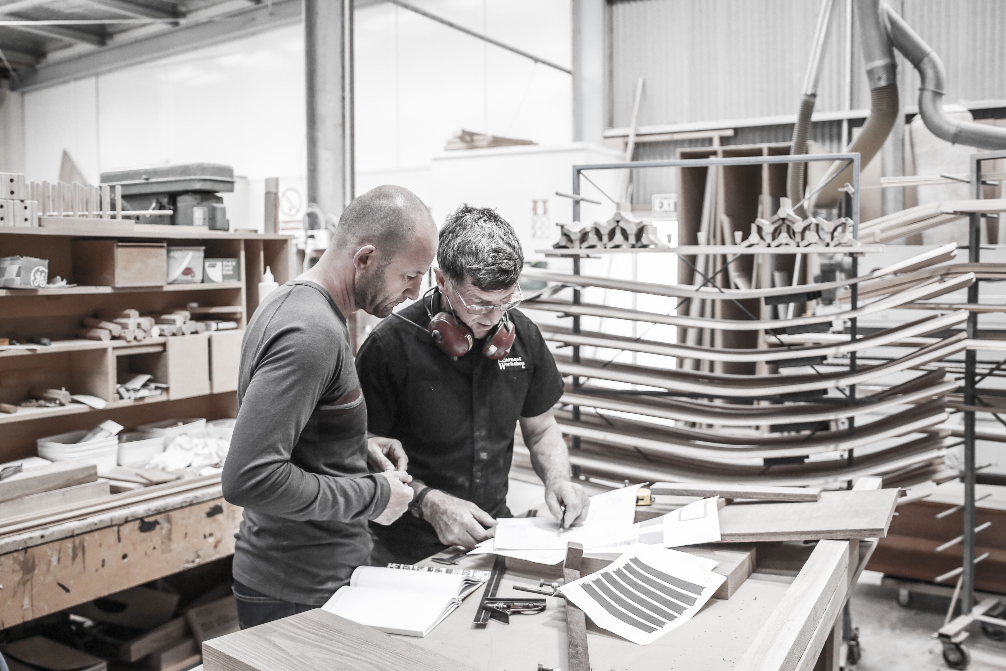 Designer Dan Gillingham (left) with furniture maker Lyndsay Fake: creating prototypes with quality, functionality and durability in mind. Photo: © The Earnest Workshop