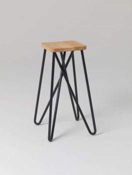 Craft-centric designs sold by essenze include Tangle Stool by Auckland-based designer Clark Bardsley: CNC-machined solid pine seat and powder-coated steel legs. Photo: ©essenze