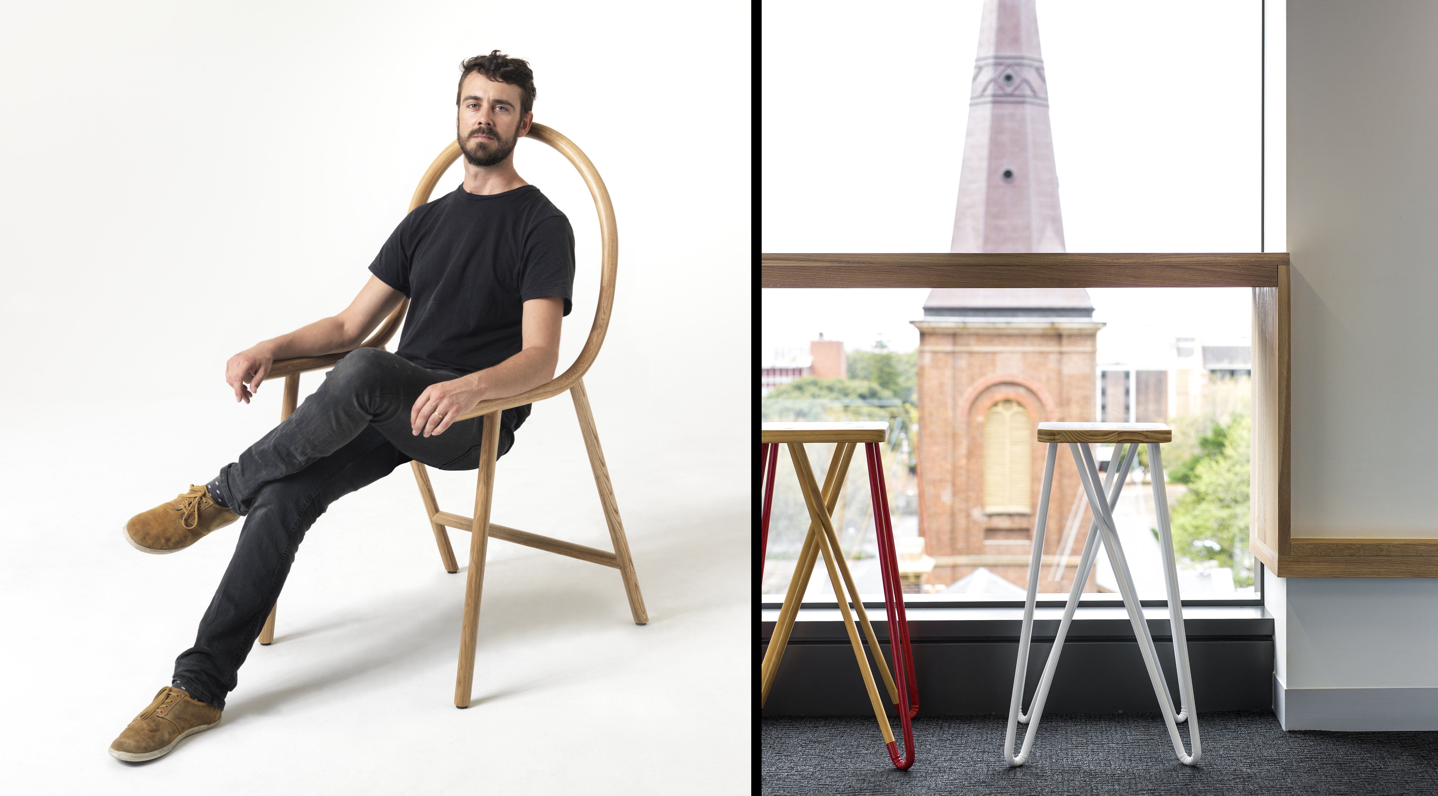 "Left: Clark Bardsley and his whimsical 'Arm' chair in steam-bent American oak – ""designed to fit over any everyday seat"". Photo: © Clark Bardsley Design. Right: Tangle stools at Work Club, Sydney (a membership-based workspace): bent steel legs and oiled New Zealand pine. Photo: © Clark Bardsley Design"