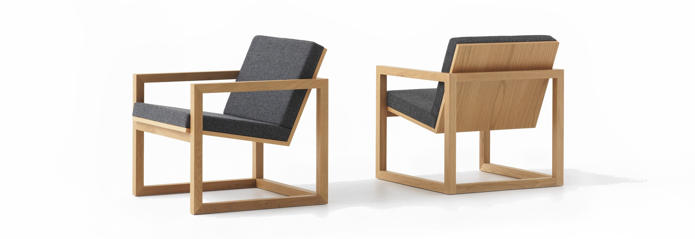 Framed armchair: made from solid American white oak and eminently suitable for the residential and commercial markets. Photo: © David Moreland Design