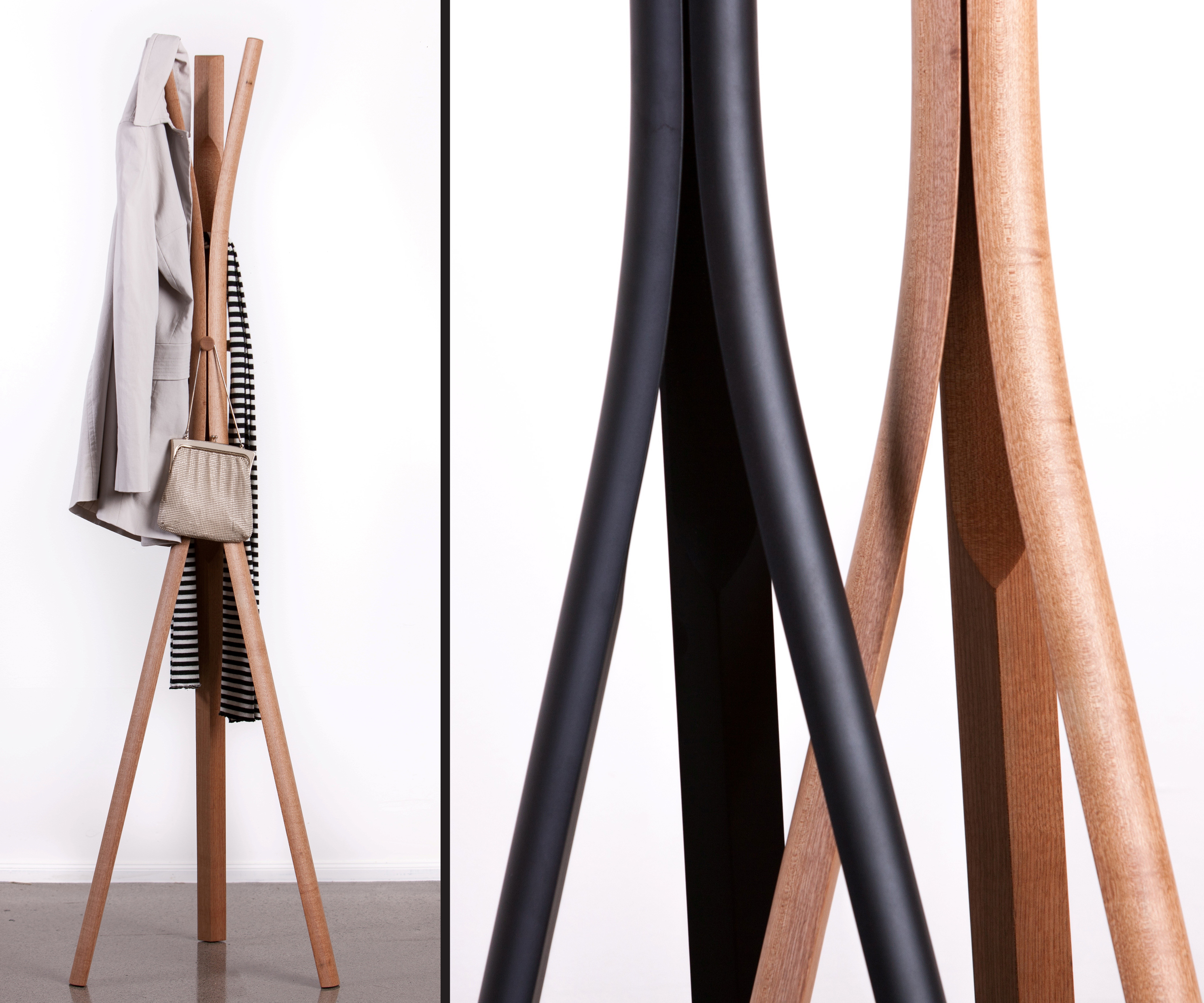 Peel: a free-standing coat rack in steam-bent American white ash. Photo: © The Earnest Workshop
