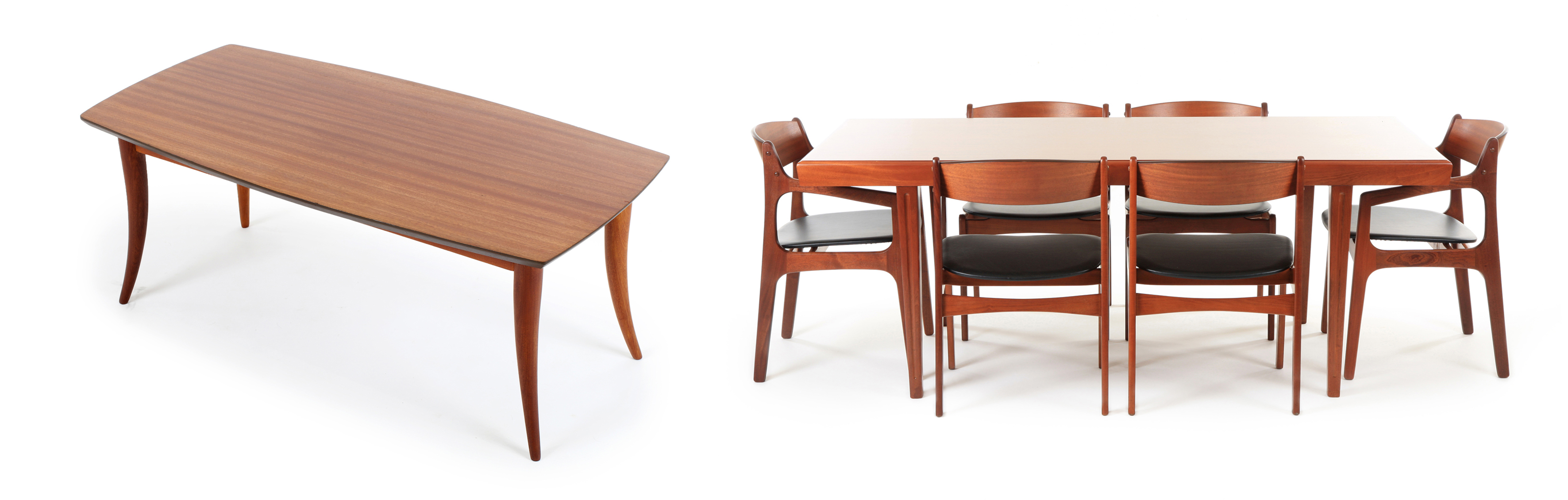 Left: Airest ('The Furniture with a Future') sabre leg coffee table: founded by Ces Renwick in 1948, the company would become one of New Zealand's largest furniture manufacturers by the late 60s. Right: Otto Larsen dining suite: Larsen produced an astonishing array of designs, often referencing work from his homeland. Photos © Mr.Bigglesworthy