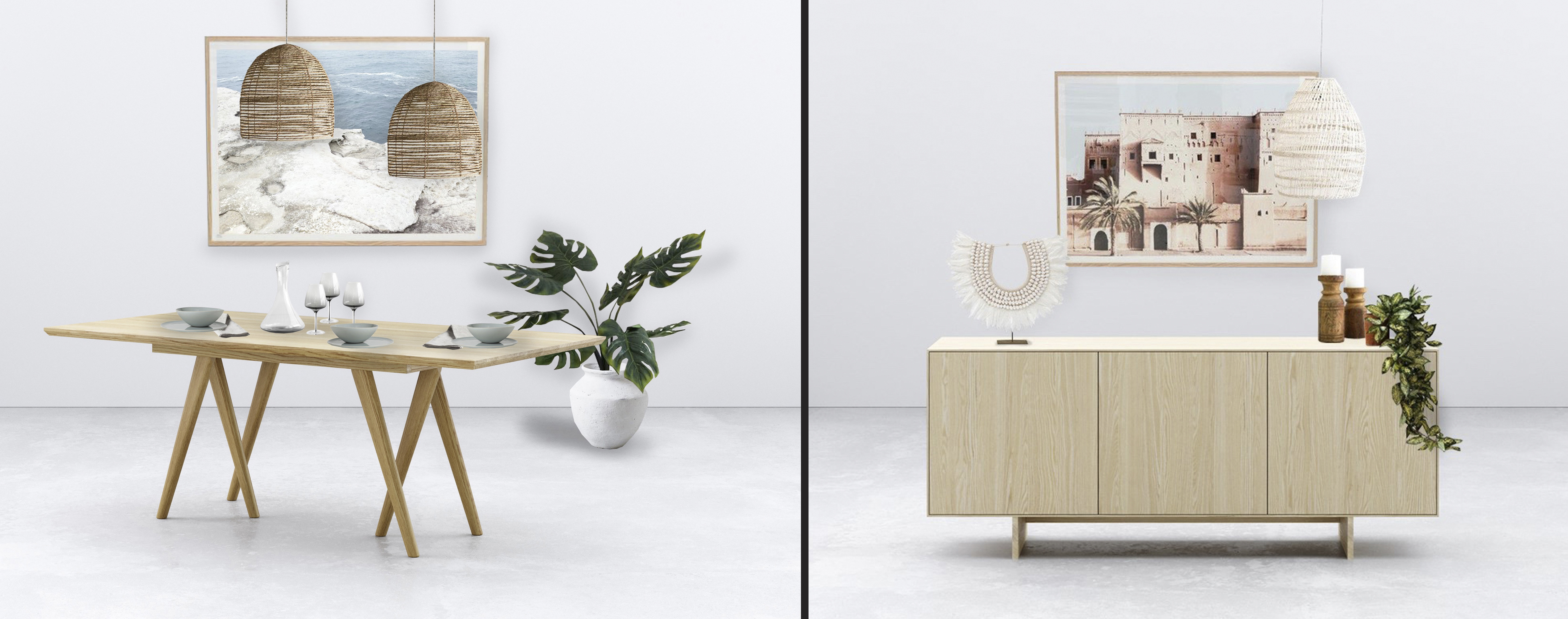 Left: Oska dining table – comes in ash or oak, in a variety of finishes. Right: Functional and stylish, the Apt three-door sideboard is inspired by Scandinavia design. Photos: © Woodwrights